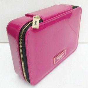 YSL Zippered Mirrored Fuchsia Cosmetic Case, NEW